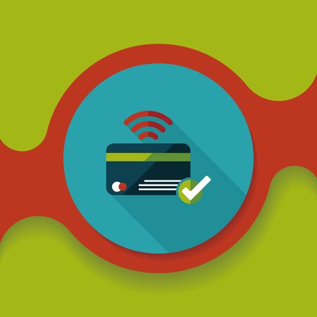 bank statement: shopping credit card flat icon with long shadow,