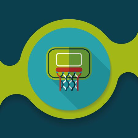 Basketball flat icon with long shadow,