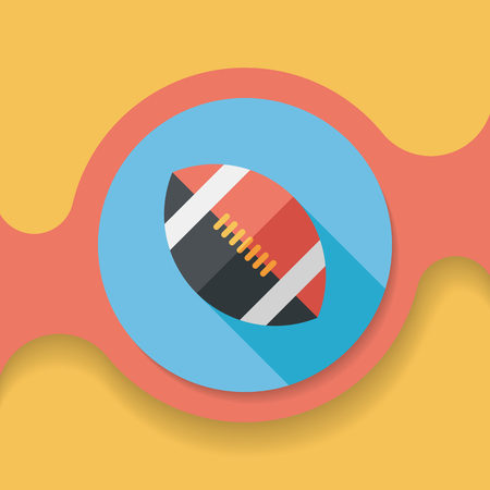rugby team: american football flat icon with long shadow, Illustration