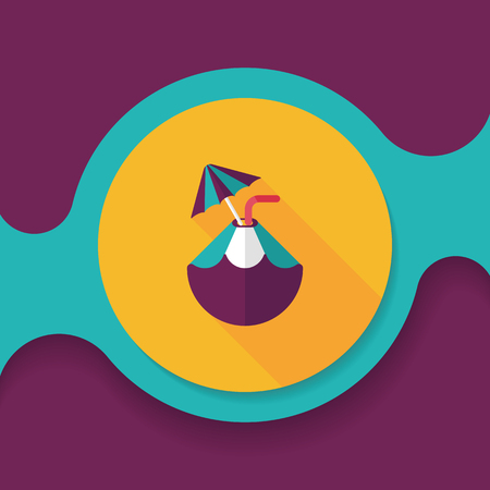 long drink: Coconut Water Drink , flat icon with long shadow Illustration