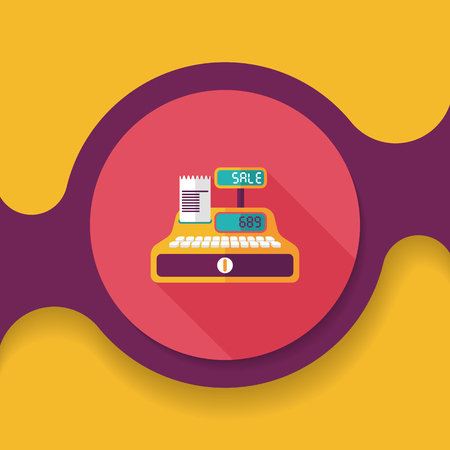 checkout counter: shopping cash register flat icon with long shadow,