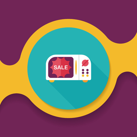 microwaves: shopping slae microwaves oven flat icon with long shadow,