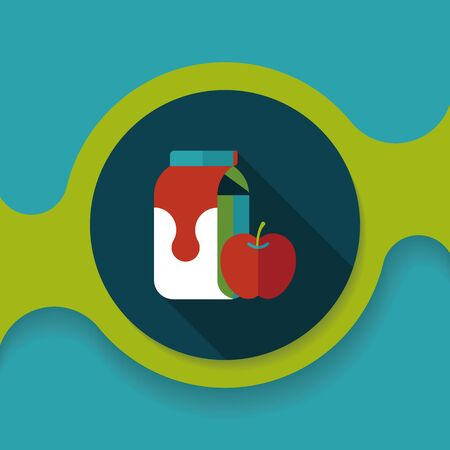 non alcoholic: milk and apple flat icon with long shadow,
