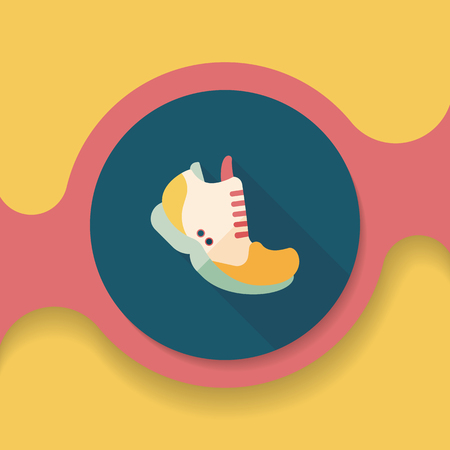 sneaker: sneaker flat icon with long shadow, Illustration