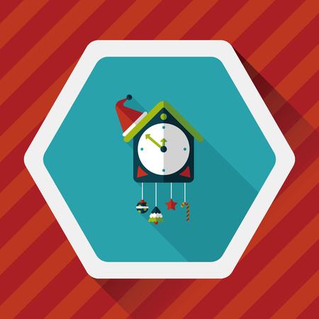 reloj cucu: icono de reloj de cuco plana con una larga sombra, Vectores