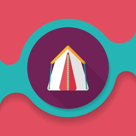 refuge: tourist tent flat icon with long shadow Illustration