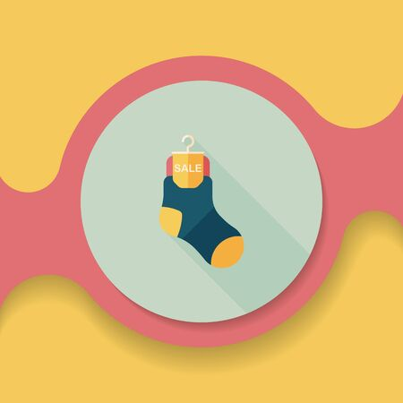 cheaper: shopping sale socks flat icon with long shadow, Illustration
