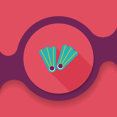 flippers: flippers for diving flat icon with long shadow