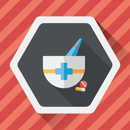 homeopathic: mortar and pestle flat icon with long shadow, Illustration