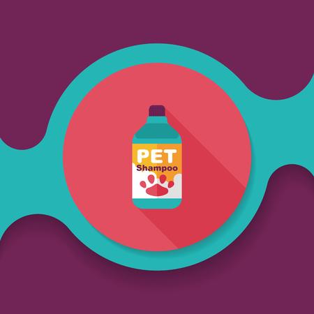 hair wash: Pet shampoo flat icon with long shadow, Illustration