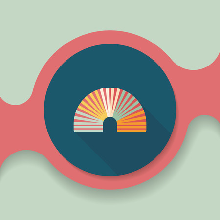 coil spring: Rainbow spiral flat icon with long shadow,