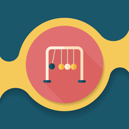 newtons cradle: Newtons Cradle flat icon with long shadow,