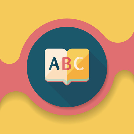 thesaurus: Dictionary book flat icon with long shadow,
