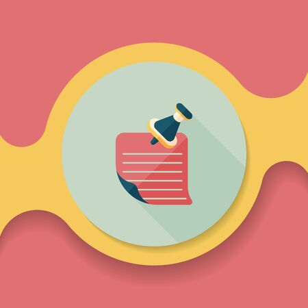 note paper: note paper flat icon with long shadow, Illustration
