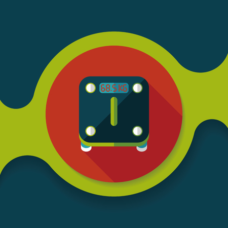 svelte: Weight scale flat icon with long shadow Illustration