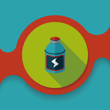 energy drinks: energy drinks flat icon with long shadow,