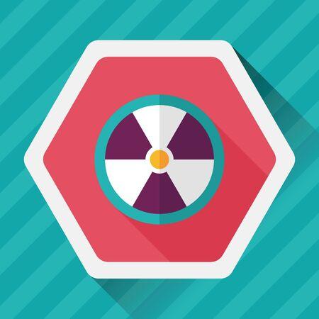 nuke: Radiation flat icon with long shadow,