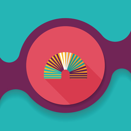 springy: Rainbow spiral flat icon with long shadow,