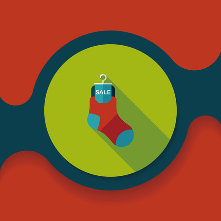 long socks: shopping sale socks flat icon with long shadow, Illustration