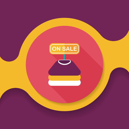 shopping clothes flat icon with long shadow,