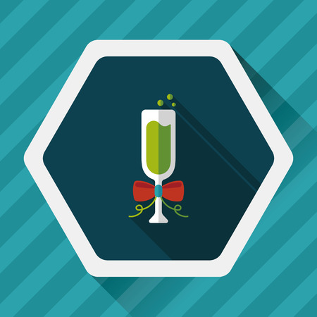 liqueur labels: Champaign flat icon with long shadow,