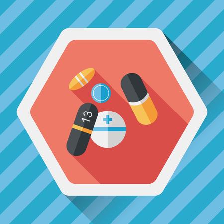 antibiotics: Pills flat icon with long shadow,