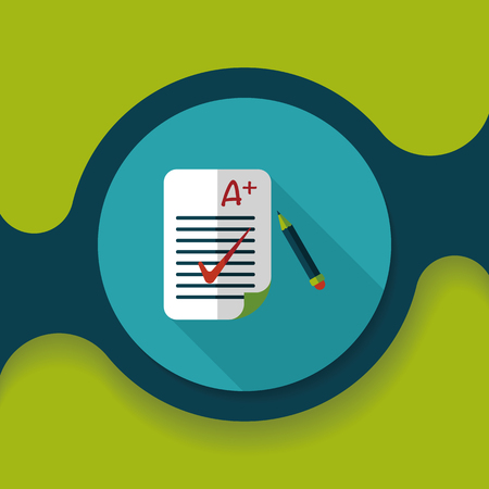 grade: A plus grade in the notebook,flat icon with long shadow,