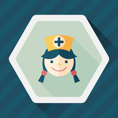 home health care: Medical nurse flat icon with long shadow,