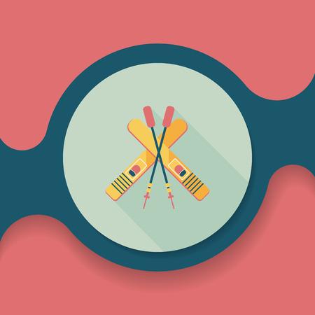slopes: ski and sticks flat icon with long shadow Illustration
