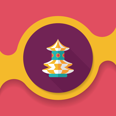 marry go round: swing seat exciting amusement ride , flat icon with long shadow Illustration