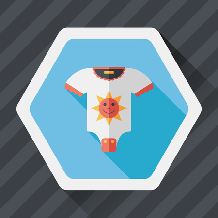 jumpsuit: baby jumpsuit flat icon with long shadow