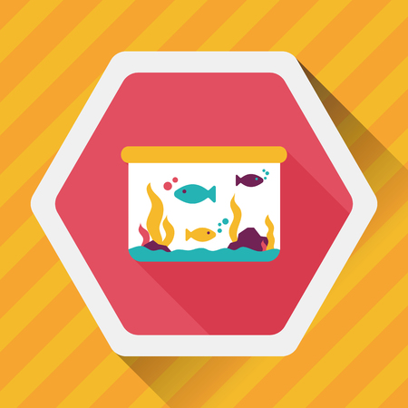 trapped: Pet fish flat icon with long shadow