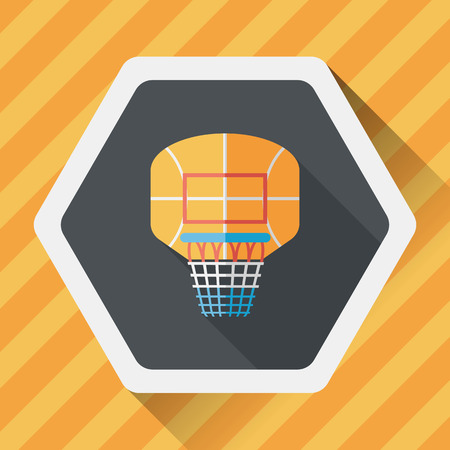 backboard: basketball backboard flat icon with long shadow