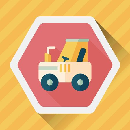 agronomy: tractor flat icon with long shadow Illustration