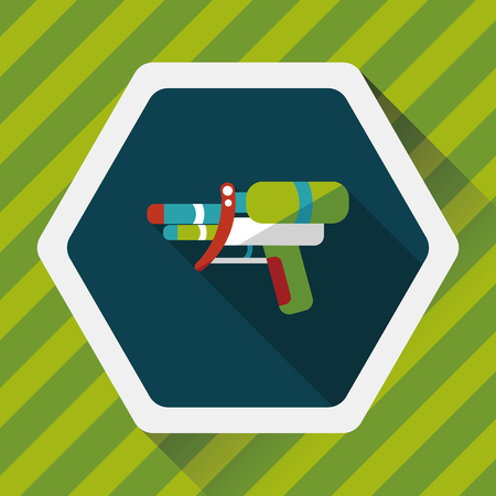 water gun: Water Gun flat icon with long shadow