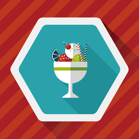 caramel sauce: ice cream flat icon with long shadow
