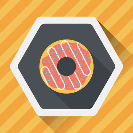 savory: donut flat icon with long shadow Illustration