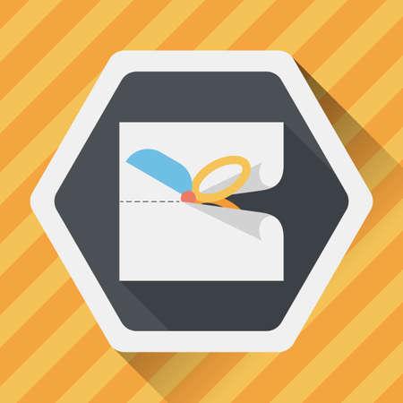 scissor cut: Scissor cut paper flat icon with long shadow