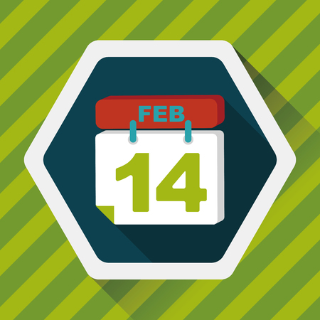 fourteen: Valentines Day February fourteen flat icon with long shadow
