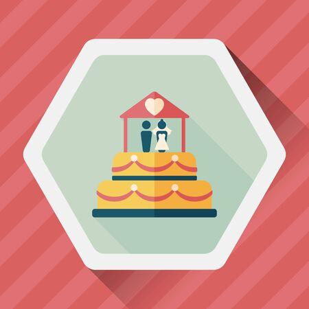boda pastel: icono plana pastel de bodas con la sombra larga