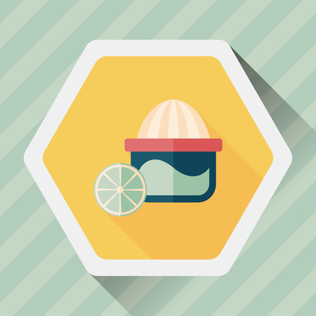 juicer: kitchenware juicer flat icon with long shadow