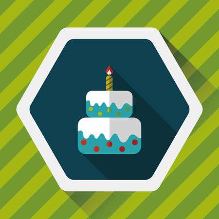 cartoon cake: birthday cake flat icon with long shadow Illustration