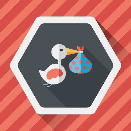 cigogne: oiseau et bébé icône plat avec ombre