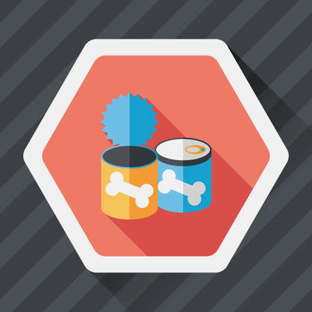 animal feed: Pet dog food can flat icon with long shadow Illustration