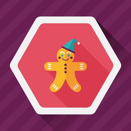 gingerbread man: gingerbread man flat icon with long shadow