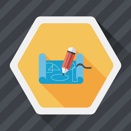 scribbling: blueprint flat icon with long shadow