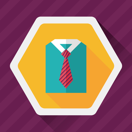blue grey coat: business shirt and tie flat icon with long shadow Illustration