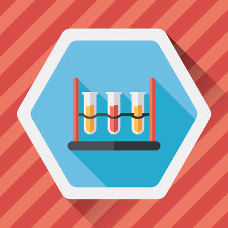 drug discovery: test tube flat icon with long shadow