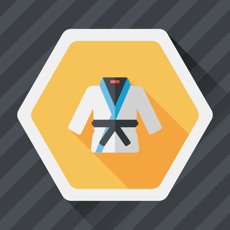 kwon: Karate suit flat icon with long shadow
