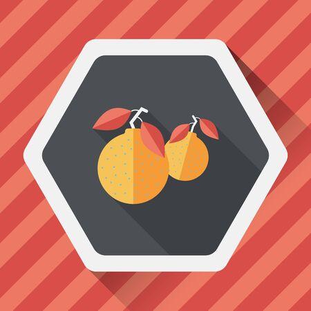 mandarin orange: Chinese New Year Mandarin Oranges flat icon wtih long shadow Illustration